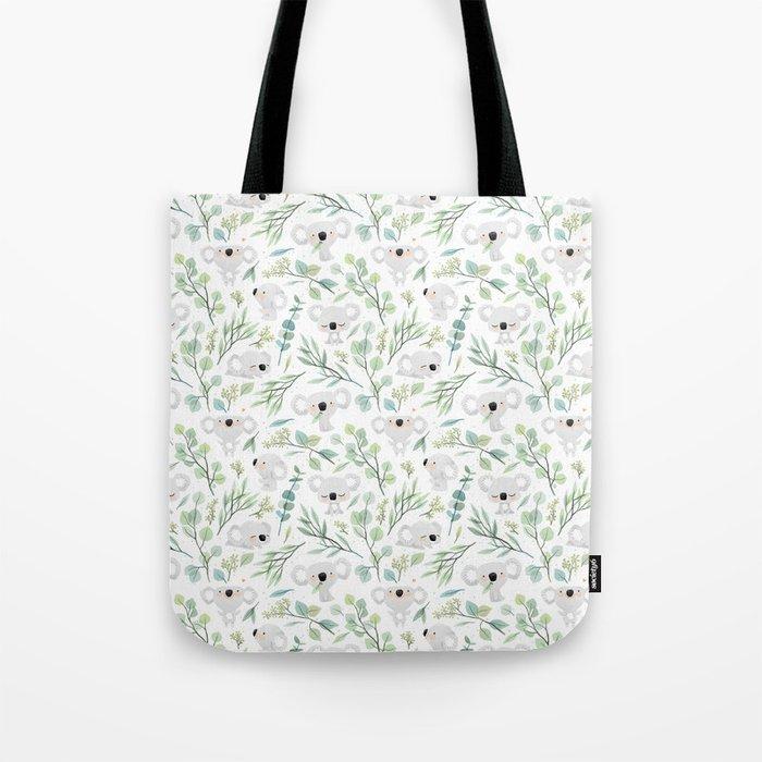Koala and Eucalyptus Pattern Tote Bag