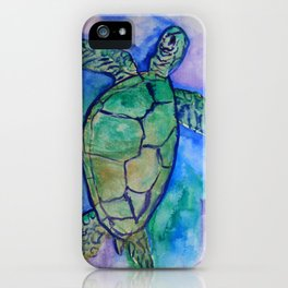 Sea Turtle Watercolor Painting iPhone Case