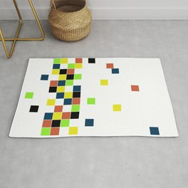 Retro Falling Blocks Tile Pattern - Digital Illustration - Graphic Design Rug