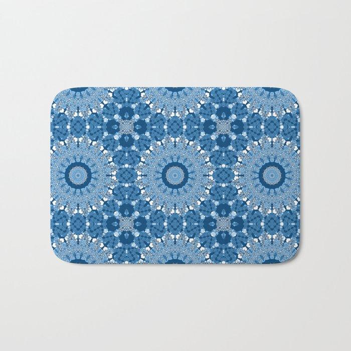 White blue kaleidoscope . Bath Mat