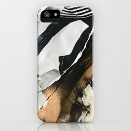 Stay | Collage Series 2 | mixed-media piece in gold, black and white + book pages iPhone Case