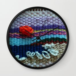 mini tapestry, weaving, Taito beach, Chiba, Japan, surf, surfing, surfing art, surf art, Wall Clock