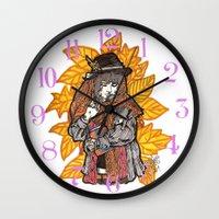 wasted rita Wall Clocks featuring Rita by Freja Friborg