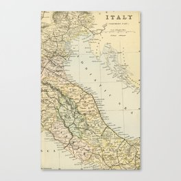 Retro & Vintage Map of Northern Italy Canvas Print