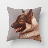 german shepherd Throw Pillows featuring German Shepherd by Lauren Rakes