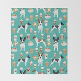 Rat Terrier coffee dog breed pet portrait dog pattern dog breeds gifts for dog lovers Throw Blanket