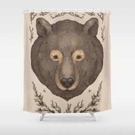 The Bear and Cedar Shower Curtain