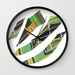 Collage green multicolor 5409 Wall Clock