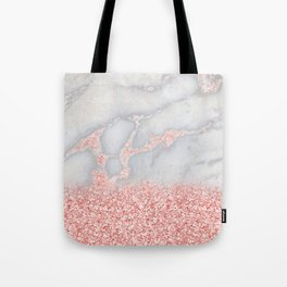 Sparkly Pink Rose Gold Glitter Ombre Bohemian Marble Tote Bag