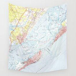 Vintage Map of Ocean City NJ (1952) Wall Tapestry