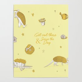 Yellow armadillo pattern Poster