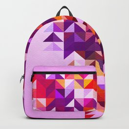 Colourful and Vibrant Geometric Nature on Ombre Pink Backpack