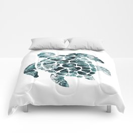 Sea Turtle - Turquoise Ocean Waves Comforters