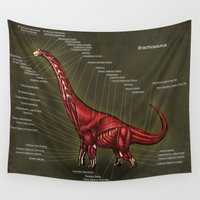 muscle Wall Tapestries featuring Brachiosaurus Muscle Anatomy by Rushelle Kucala Art
