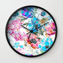 Flowers and rhombuses pattern Wall Clock