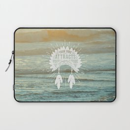 Your Vibe Attracts Your Tribe - Beach Sunset Laptop Sleeve