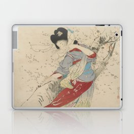 Japanese Meiji Period Print - Cherry Blossom Flurry Laptop & iPad Skin