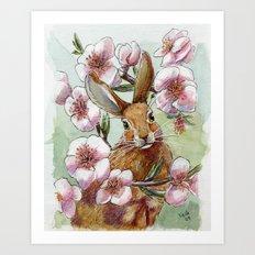 Amandine - Rabbit and flowers Art Print