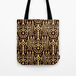 Golden Pattern in Techno Tribal Style. Gold on Dark Tote Bag
