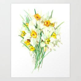 Daffodil Flowers, White spring flowers, Green yellow spring colored design Art Print