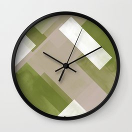 Modern Abstract No. 7   Green Grass, Chocolate, White + Taupe Wall Clock
