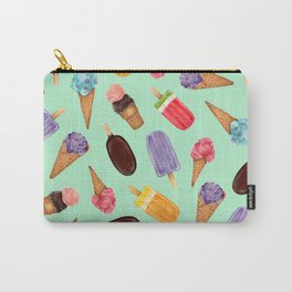 Pastel green Ice Cream cones Pattern | Ice cream and popsicle summer pattern Carry-All Pouch