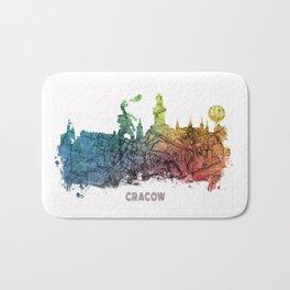 Cracow City Skyline  map #krakow #cracow Bath Mat