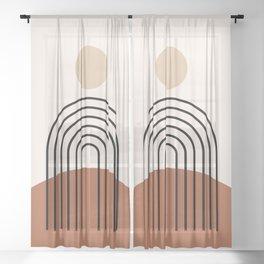 Abstraction_SUN_LINE_BOHEMIAN_LANDSCAPE_POP_ART_1129B Sheer Curtain