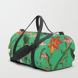 Vintage wild flowers green Duffle Bag
