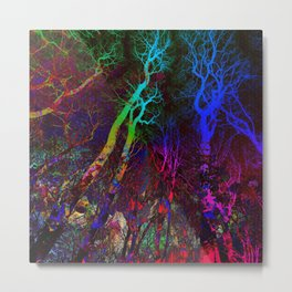 Magic neon Forest Metal Print
