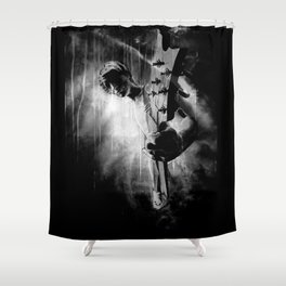 The GUITAR GOD - black version Shower Curtain