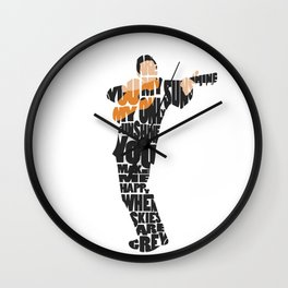 Typography Art of  The Man in Black Johnny Cash Wall Clock