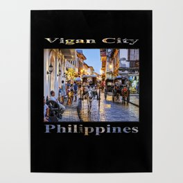 Rush Hour in Vigan City (on black) Poster