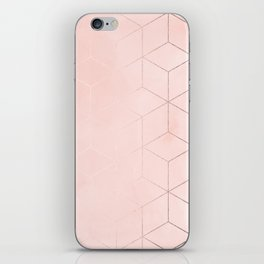Rosegold Pink Geometric Blocks iPhone Skin