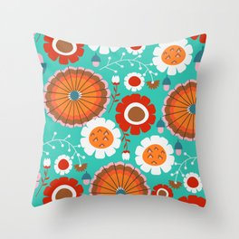 Floral amusement park Throw Pillow