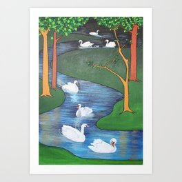 A Flock of Seven Swans-A-Swimming Art Print