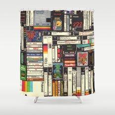 Cassettes, VHS & Atari Shower Curtain