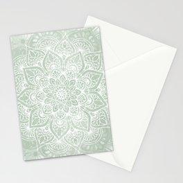 🤍, Mandala, Yoga Love, Sage Green, Boho Print Stationery Cards