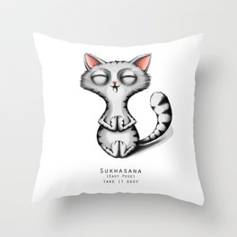 yoga cat sukhasana Throw Pillow