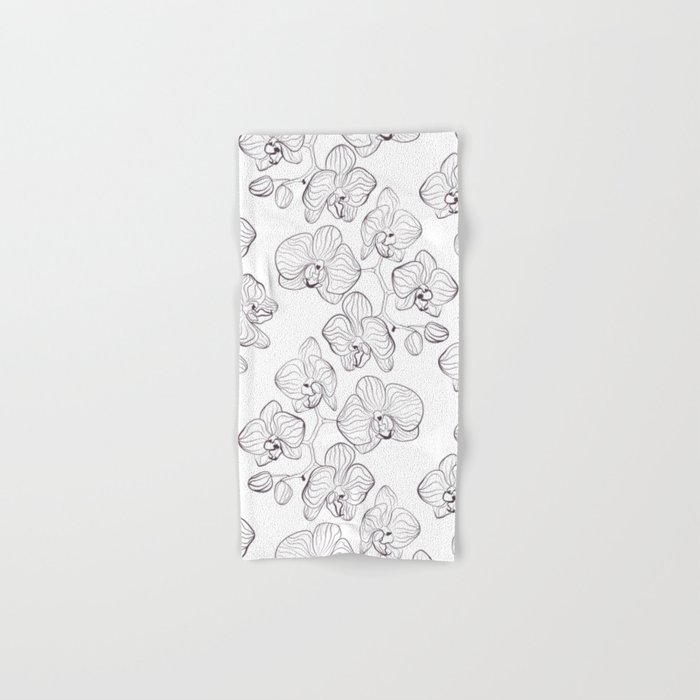 The White Orchid. Black and white pattern . Hand & Bath Towel