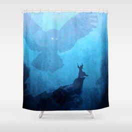 Owl Summoner: Blue Haze Shower Curtain