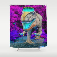 techno Shower Curtains featuring Techno Dino by Hyde the Wild Boar