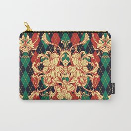 Argyle eclectic vintage pattern. Floral baroque ornament. Vintage damask hand drawn illustration pattern. Carry-All Pouch