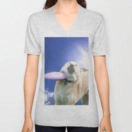 Frisbee Dog Unisex V-Neck