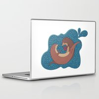 otters Laptop & iPad Skins featuring Underwater Otters by Amarie