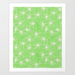 02 White Flowers on Green Art Print