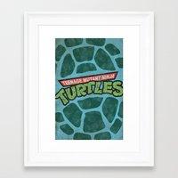 teenage mutant ninja turtles Framed Art Prints featuring Teenage Mutant Ninja Turtles by bradhydedesigns