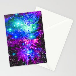Fox Fur Nebula Galaxy Pink Purple Blue Stationery Cards