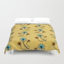 Mid Century Modern Dandelions on yellow Duvet Cover