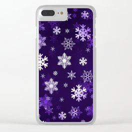 Dark Purple Snowflakes Clear iPhone Case